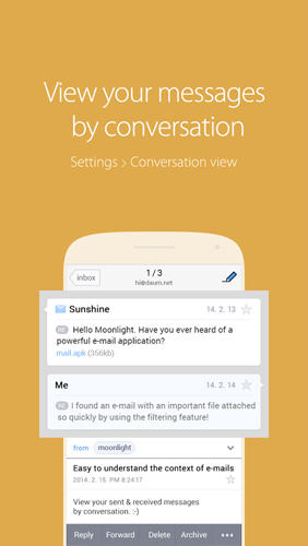 Screenshots of SolMail: All in One Email program for Android phone or tablet.