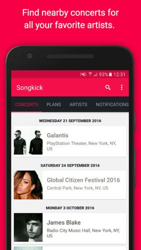 Capturas de tela do programa Songkick concerts em celular ou tablete Android.