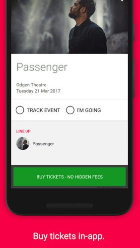 Screenshots of Songkick concerts program for Android phone or tablet.