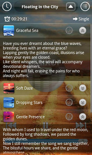 Les captures d'écran du programme Sound sleep: Deluxe pour le portable ou la tablette Android.