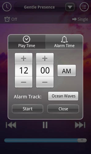 Screenshots des Programms Sound sleep: Deluxe für Android-Smartphones oder Tablets.