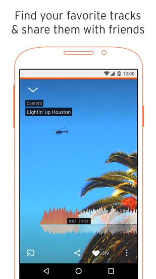 Capturas de tela do programa SoundCloud em celular ou tablete Android.