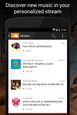 Les captures d'écran du programme SoundCloud - Music and Audio pour le portable ou la tablette Android.