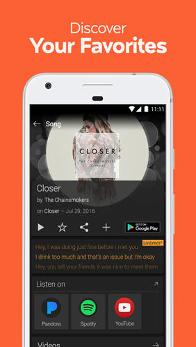 Les captures d'écran du programme SoundHound: Music Search pour le portable ou la tablette Android.