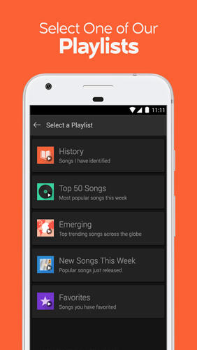 Screenshots of SoundHound: Music Search program for Android phone or tablet.