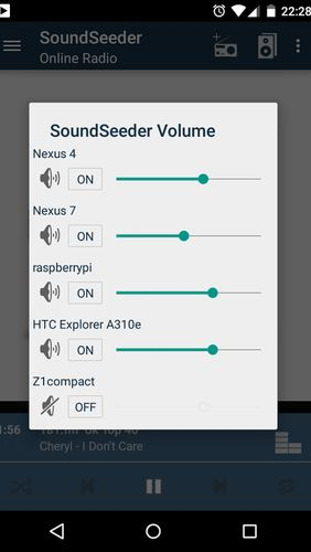 Capturas de tela do programa SoundSeeder em celular ou tablete Android.
