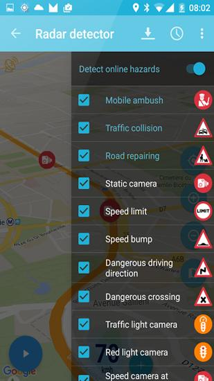 Capturas de tela do programa Speed Camera Radar em celular ou tablete Android.