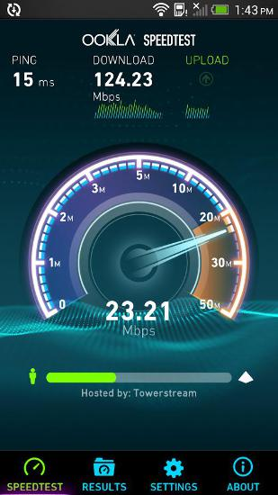 Les captures d'écran du programme Speedtest pour le portable ou la tablette Android.