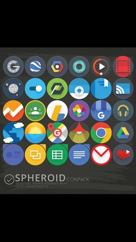 Screenshots of Spheroid icon program for Android phone or tablet.