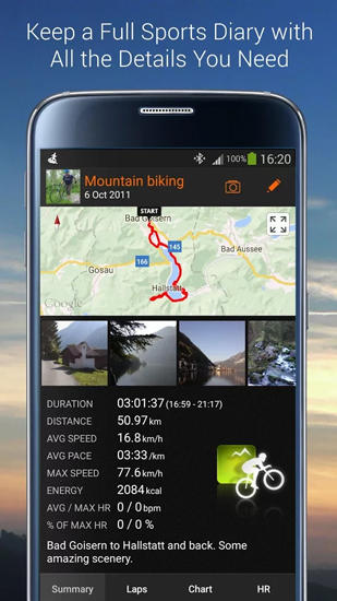 Screenshots of Sports Tracker program for Android phone or tablet.