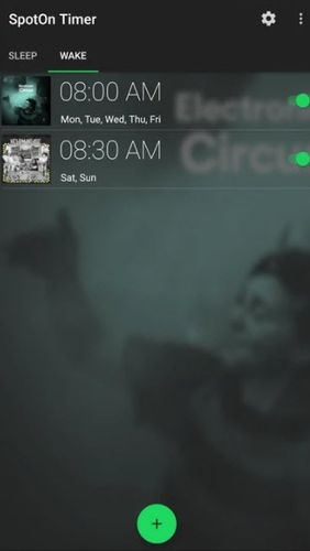 Screenshots of SpotOn - Sleep & wake timer for Spotify program for Android phone or tablet.