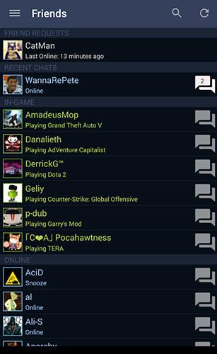Les captures d'écran du programme Steam pour le portable ou la tablette Android.