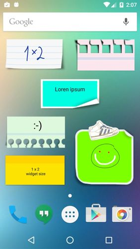 Les captures d'écran du programme Sticky notes pour le portable ou la tablette Android.