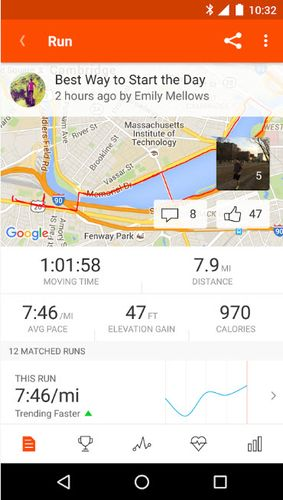 Capturas de pantalla del programa Strava running and cycling GPS para teléfono o tableta Android.