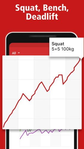 Capturas de tela do programa StrongLifts 5x5: Workout gym log & Personal trainer em celular ou tablete Android.