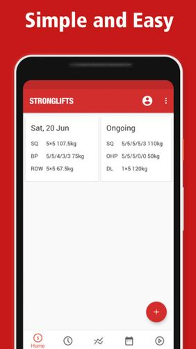 Les captures d'écran du programme StrongLifts 5x5: Workout gym log & Personal trainer pour le portable ou la tablette Android.