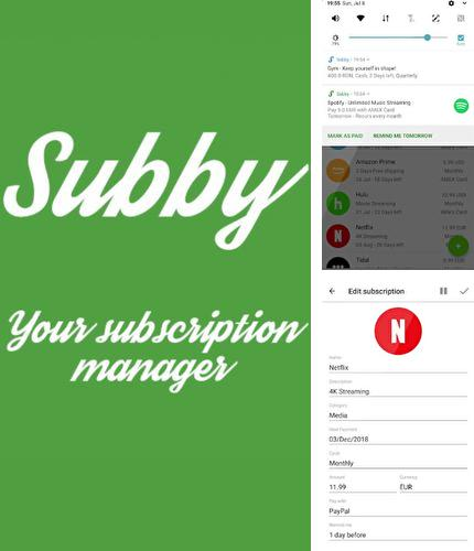 Descargar gratis Subby - The Subscription Manager para Android. Apps para teléfonos y tabletas.