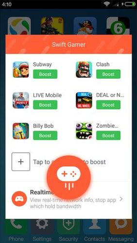 Screenshots des Programms Swift gamer – Game boost, speed für Android-Smartphones oder Tablets.