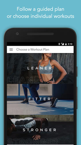 Screenshots des Programms Sworkit: Personalized Workouts für Android-Smartphones oder Tablets.