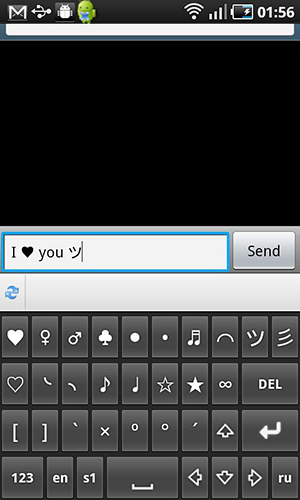 Screenshots des Programms Symbols keyboard and text art für Android-Smartphones oder Tablets.