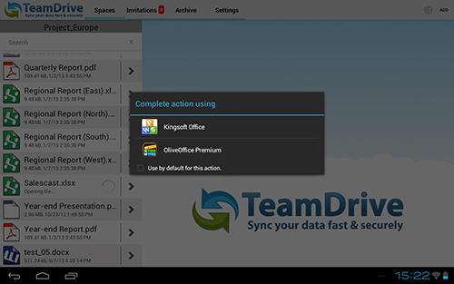 Capturas de tela do programa Team drive em celular ou tablete Android.