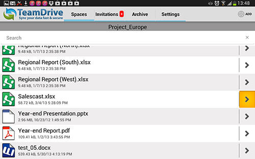 Screenshots of Team drive program for Android phone or tablet.