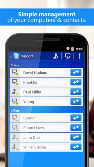 Screenshots of TeamViewer program for Android phone or tablet.