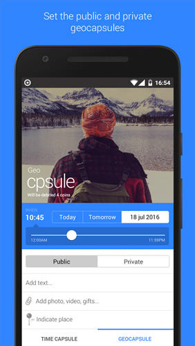 Screenshots of Telecapsule: Time Capsule program for Android phone or tablet.