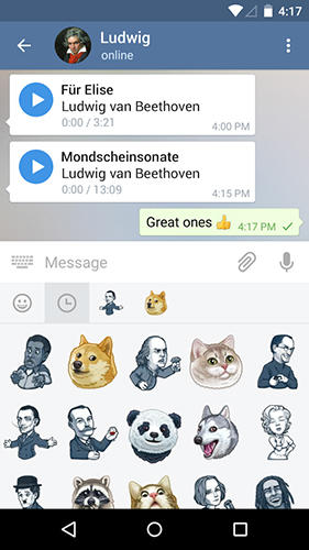 Screenshots of Telegram program for Android phone or tablet.