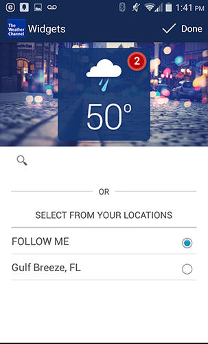 Screenshots of The weather channel program for Android phone or tablet.