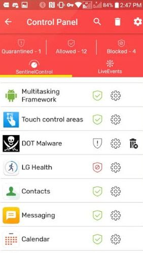 Screenshots des Programms Redmorph - The ultimate security and privacy solution für Android-Smartphones oder Tablets.