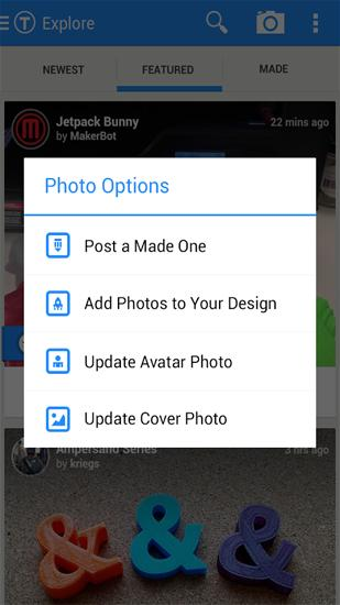 Screenshots of Thingiverse program for Android phone or tablet.
