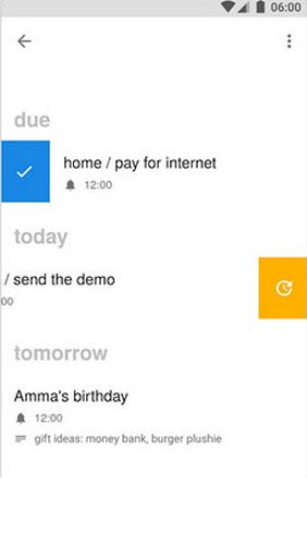 Screenshots of Three.do — The quickest reminders / tasks / to-do program for Android phone or tablet.