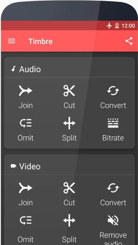 Screenshots des Programms Timbre: Cut, join, convert mp3 video für Android-Smartphones oder Tablets.