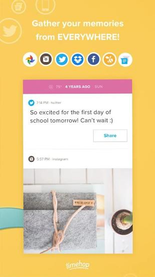 Capturas de tela do programa Timehop em celular ou tablete Android.