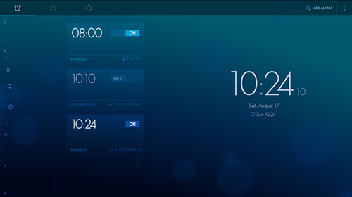 Screenshots of Timely alarm clock program for Android phone or tablet.