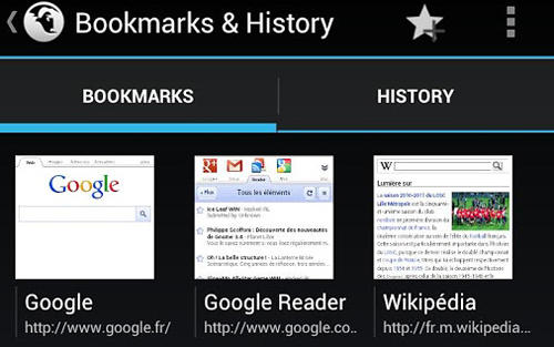 Capturas de tela do programa Tint browser em celular ou tablete Android.
