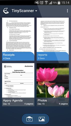 Capturas de tela do programa Tiny scanner - PDF scanner em celular ou tablete Android.