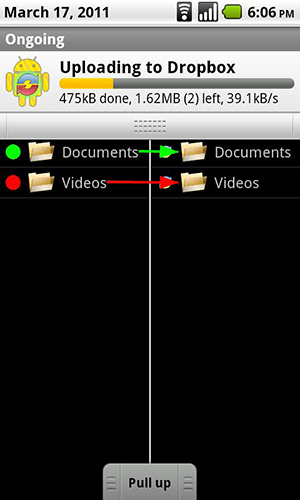 Screenshots of CM Backup program for Android phone or tablet.