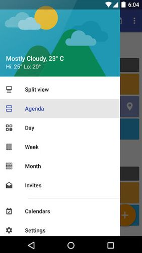 Screenshots of Today calendar program for Android phone or tablet.