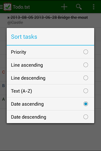 Screenshots of Todo.txt program for Android phone or tablet.