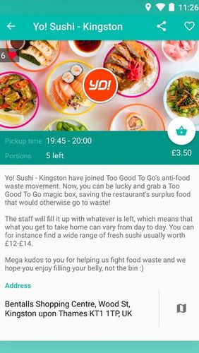 Screenshots des Programms Too good to go - Fight food waste, save great food für Android-Smartphones oder Tablets.