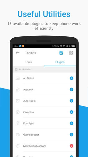 Les captures d'écran du programme Toolbox: All In One pour le portable ou la tablette Android.