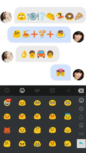 Capturas de tela do programa TouchPal keyboard - Cute emoji, theme, sticker and GIFs em celular ou tablete Android.