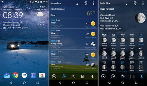 Aplicativo Transparent clock and weather para Android, baixar grátis programas para celulares e tablets.