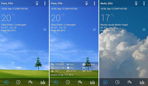 Screenshots of Transparent clock and weather program for Android phone or tablet.