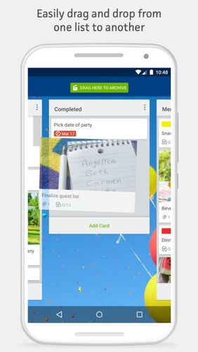 Screenshots of Trello program for Android phone or tablet.