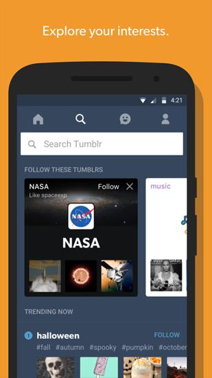 Screenshots of Tumblr program for Android phone or tablet.