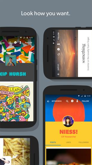 Screenshots des Programms Tumblr für Android-Smartphones oder Tablets.