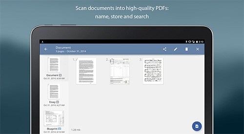 Screenshots des Programms TurboScan: Document scanner für Android-Smartphones oder Tablets.